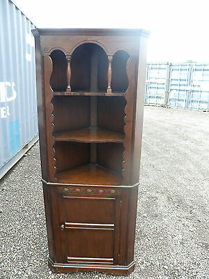 Vintage oak corner cupboard with Gothic arches bottom cupboard 4 shelves