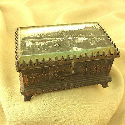Detailed Aged Brass Red Velvet Lined Footed Mirrored Jewelry Casket, Trinket Box