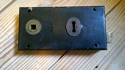 Reclaimed Union Rim Lock Key Hole 1940's Black Metal Vintage Trade Mark