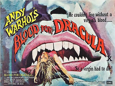 """Blood for Dracula 16"""" x 12"""" Reproduction Movie Poster Photograph"""