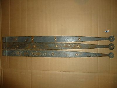 "Antique Cast Iron Strap Hinge,25"",heavy Hand Forged,old Maine Barn Hinges Farm"