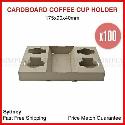 100x Disposable Coffee Cup Holder 4 Cardboard Drinks Tray Takeaway Travel Bulk