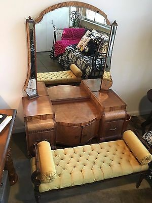 Art Deco Waterfall Vintage Dressing Vanity w/Etched Mirror and Bench