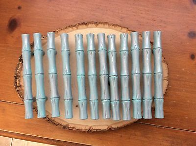 "008 VTG  Bamboo Design  Handles In A Turquoise Wash Set Of 2. 3"" Hole To Hole"