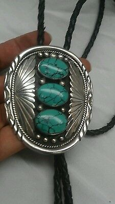 Vintage Native American Navajo E.Belone sterling turquoise  leather bolo tie