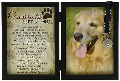Pawprints Memorial Pet Tag Frame - Pawprints Left By You on the Rainbow Bridge