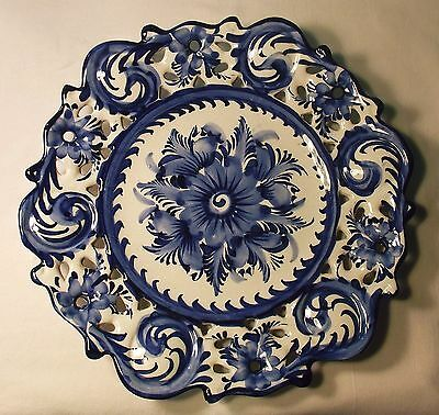 """Blue Floral Reticulated Decorative Plate, Alcobaca, Portugal, Hand Painted, 12"""""""