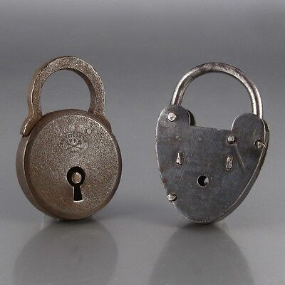 "Two Antique Padlocks, One Stamped ""Breveté SGDG, V.F. Paris"""