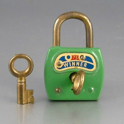 "Vintage Green Padlock with Two Keys, Stamped ""Winner. 75"""