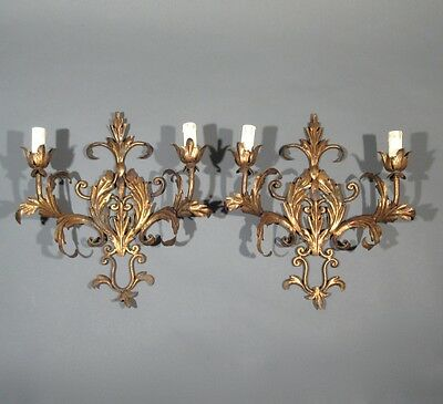 Pair of Vintage FrenchGilded Tole Sconces, Acanthus Leaves, Riviera Style