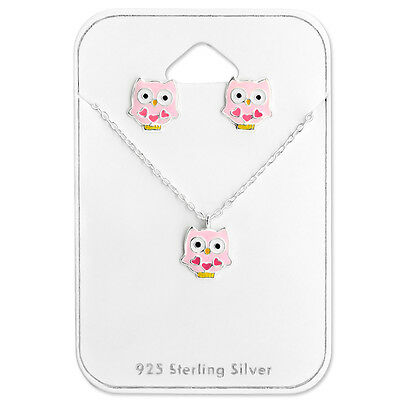 925 Sterling Silver Pink Owl Stud Earrings and Necklace Gift Set Kids Girls