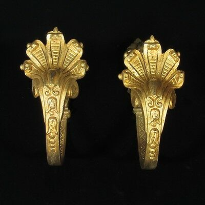 Pair of Antique French Gilded Bronze Tiebacks, Shells,Rococo,Signed & Numbered