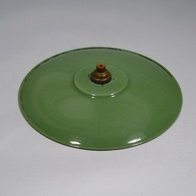 Vintage French Green Enamel Ceiling Shade