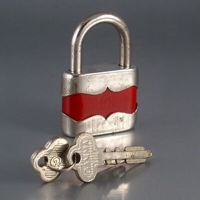 "Vintage Red Padlock with Two Keys, Gamma, Stamped ""Made in Poland"""