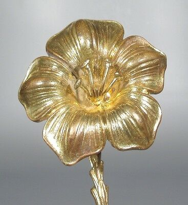Antique French Gilded Bronze Ornament Decoration, Lilies