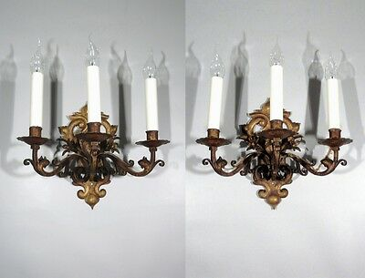 Pair of Vintage French Tole Sconces, Antique Gold Patina, Flowers