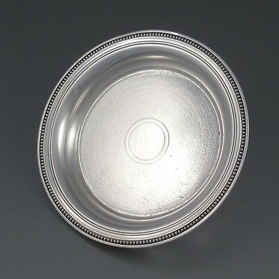 """Antique French Christofle Silver Plate Carafe Tray, Bottle Coaster, """"Perles"""""""