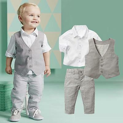 3-18M 3Pcs Baby Boy Wedding Party Formal Shirt+Waistcoat+Pants Suit Outfits Set