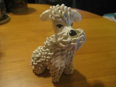 Porcelain Spaghetti Sitting Poodle Dog Figurine Made In Italy