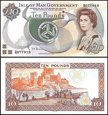 Isle of Man 10 Pounds, 1998, P-44b, UNC, Queen Elizabeth II (QEII)
