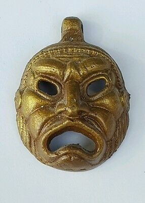 Roman Bronze Face Theater Mask Pendant / Jewelry Well Cast, Antique AD 100