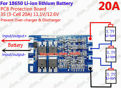 New Lithium Battery 18650 3S 20A Charger PCB BMS 12.6V Cell Protection Board D