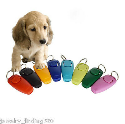 Pet Dog Puppy Cat Button Click Clicker Training Trainer Aid Wrist Strap Guide