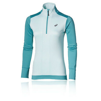 Asics Womens Blue Half Zip Long Sleeve Winter Warm Running Sports Top