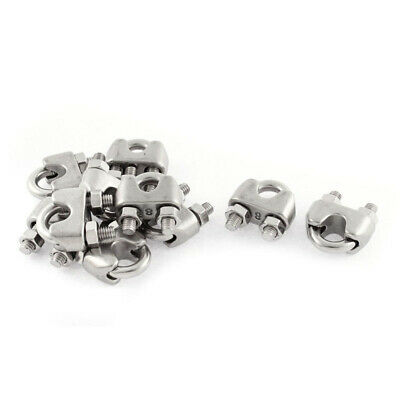 8mm 5/16 Inch Stainless Steel Wire Rope Cable Clamp Clips 10pcs F6