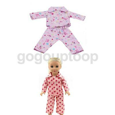 "2x Pajamas PJS Nightgown Clothes Set for 18""  American Doll"