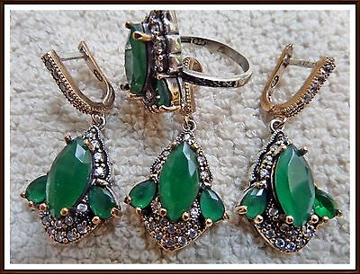 Ladies Turkish Made Jewelry / 925 Sterling Silver Green Emerald Set Ring Sz 7.75