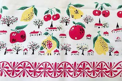 """Vintage FRUIT & VILLAGE TABLECLOTH 67"""" x 51"""" Made In Japan NEW OLD STOCK"""