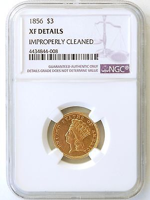 1856  Gold $3 Princess  NGC EF Details  -  Improperly Cleaned
