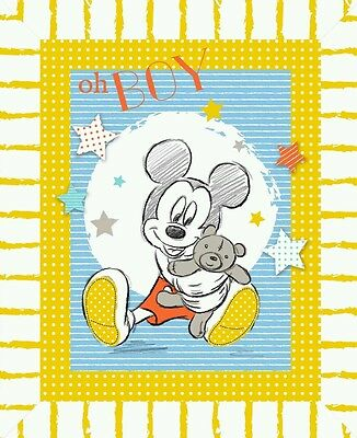 Baby Mickey Oh Boy Quilt Panel..in Stock Now....free Post...*new*