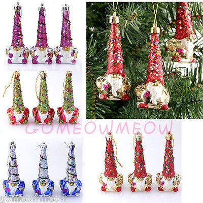3x Christmas Xmas Santa Claus Tree Decor Colorful Glitter Hanging Danle Ornament