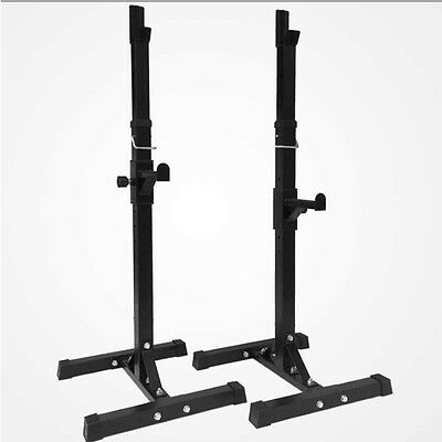 2 x Squat Rack Bench Press Home Gym Weight Lifting Barbell Stand Fitness New