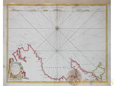 Welsh cost antique old sea chart by Collins 1779