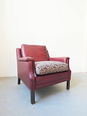 1960S/70S Danish Red Leather Club Arm Chair Vintage
