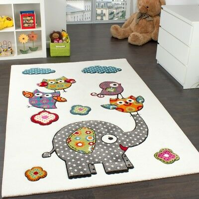 Children's Room Rug Cute, Colourful Zoo Animals Owls And Elephants Multicoloured