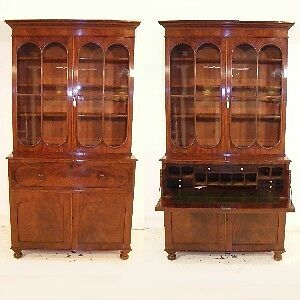 Good Quality Antique Mahogany Secretaire Library Bookcase