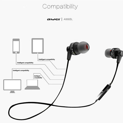Portable Awei A990BL Bluetooth Wireless Handsfree Volume Control Sports Earphone