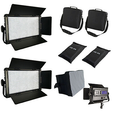 2xLED576AVL LED-Studio-Panel leichte LCD Touch Screen dimmbare Softbox Tasche Qu