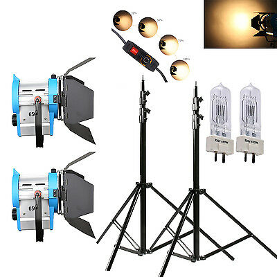2 x 650W dimmbare Film Fresnel Wolfram Spotlight Beleuchtung Video Torblende