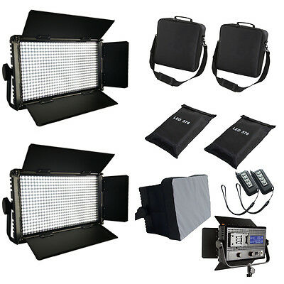 2xLED576ASVLY Bi-Color dimmbare LED-Video-Licht-Panel Softbox Tasche FLICKER FRE