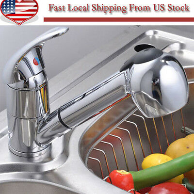 Single Lever Pull-Out Spray Swivel Spout Kitchen Faucet Chrome Sink Mixer Tap OY