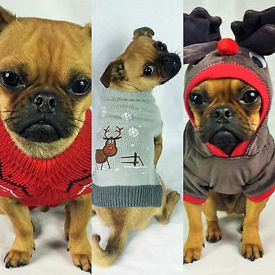 Ancol Pet Dog Pupppy Cat Christmas Jumper Knitted Sweater Reindeer Festive