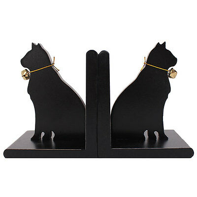 black cat bookends with bell shelf sitting decor 14 x 22 x 10cm deep CO_14316