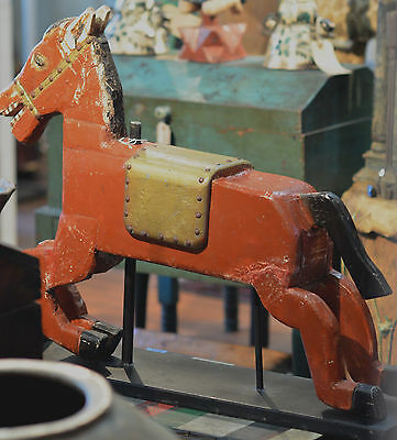 ANTIQUE CAROUSEL HORSE w/ CUSTOM STAND