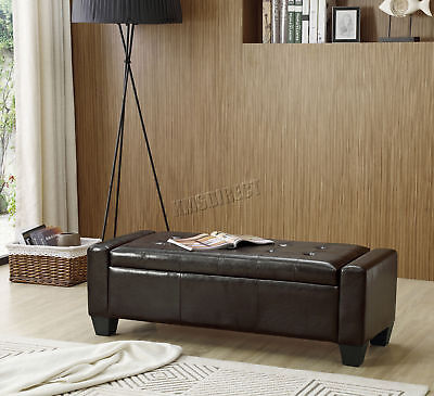 FoxHunter PU Leather Ottoman Storage Bench Footrest Stool Lift Top Home Brown