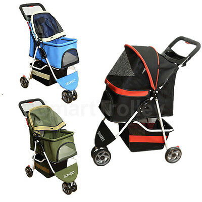 3 Wheels Pet Stroller Cat / Dog Pram Folding Travel Carrier Carriage
